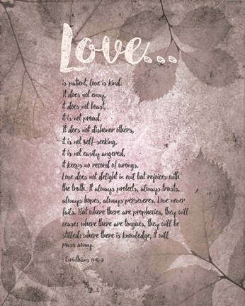 Framed Corinthians 13:4-8 Love is Patient - Grey Leaves Print