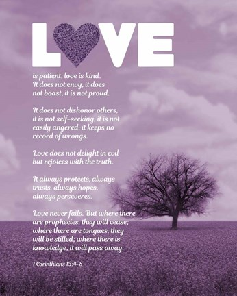 Framed Corinthians 13:4-8 Love is Patient - Lavender Field Print