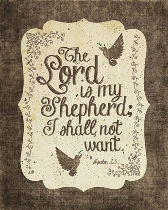 Framed Psalm 23 The Lord is My Shepherd - Bird Border Print