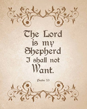 Framed Psalm 23 The Lord is My Shepherd - Brown Print
