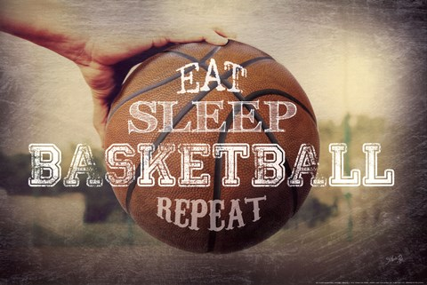 Framed Eat, Sleep, Basketball, Repeat Print