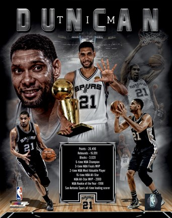Framed Tim Duncan Legends Composite Print