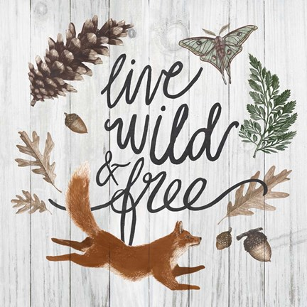 Framed Live Wild and Free Print