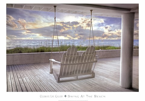 Framed Swing At The Beach Print
