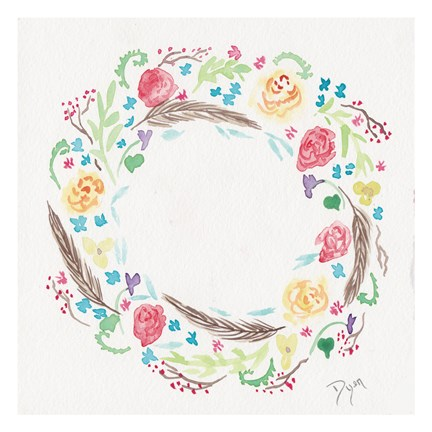 Framed Wildflower Wreath 1 Print