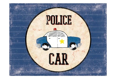 Framed Police Car Blues Print