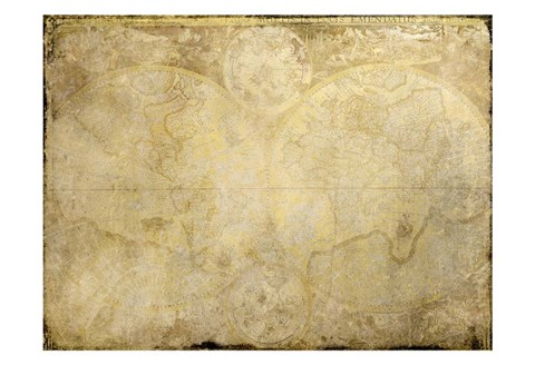 Framed World Map in Gold Print