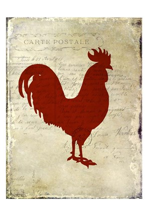 Framed Rooster Silhouette 1 Print