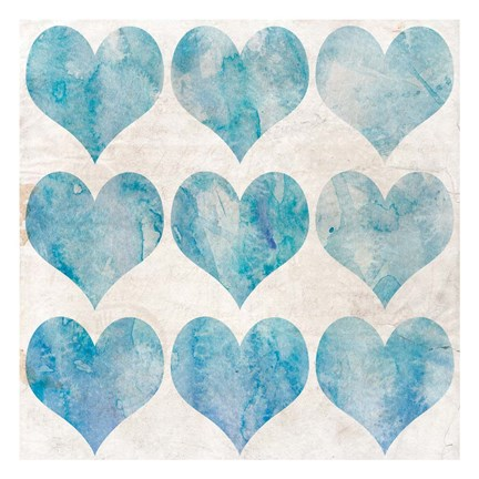 Framed Watercolor Hearts 1 Print