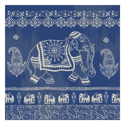 Framed Boho Elephant Blue Print