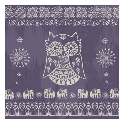 Framed Boho Owl Purple Print