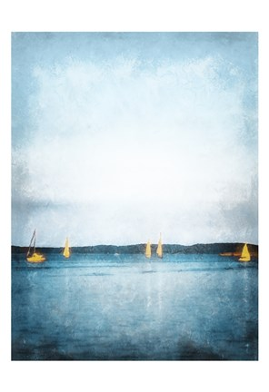 Framed Seaview Painted Sailboats Print
