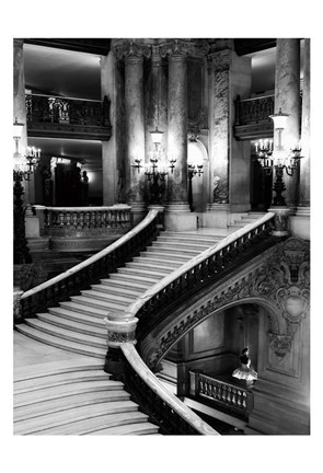Framed BW Grand Stairs Print