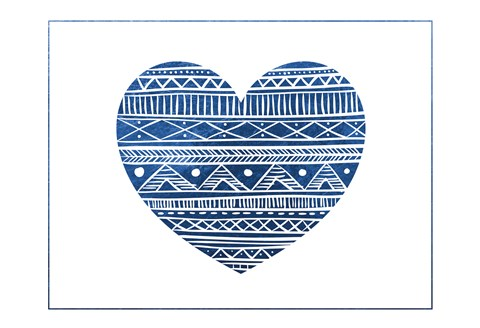 Framed Indigo Tribal Heart Print