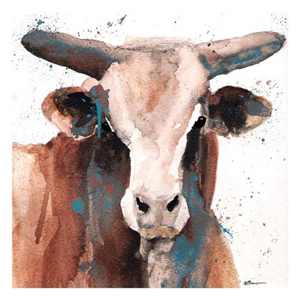 Framed Splashed Blue Bull Print