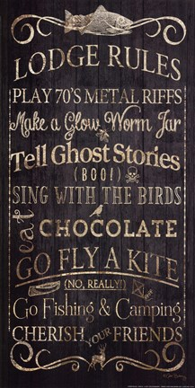 Framed Lodge Rules - Tell Ghost Stories Print