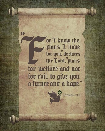 Framed Jeremiah 29:11 For I know the Plans I have for You (Scroll) Print
