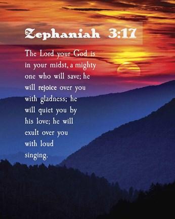 Zephaniah 3 17 The Lord Your God Sunset Fine Art Print