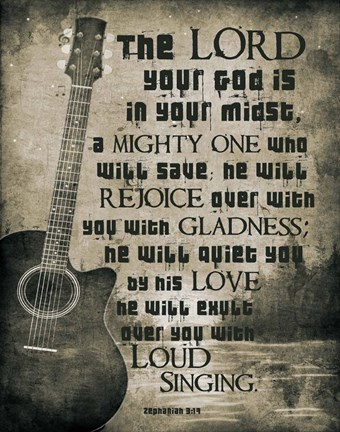 Framed Zephaniah 3:17 The Lord Your God (Guitar Sepia) Print