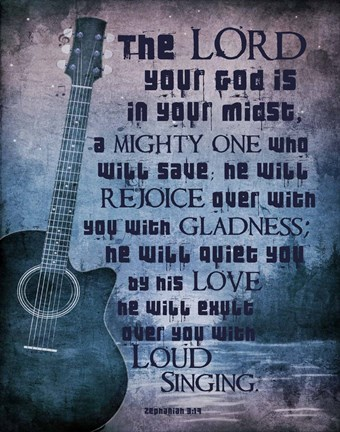 Framed Zephaniah 3:17 The Lord Your God (Guitar) Print