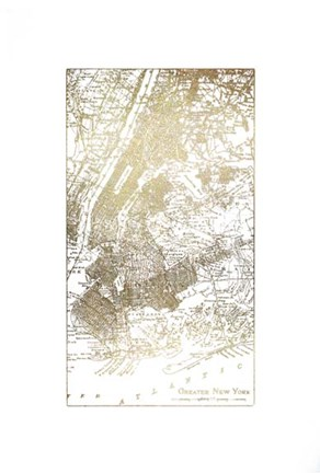 Framed Gold Foil City Map New York- Metallic Foil Print