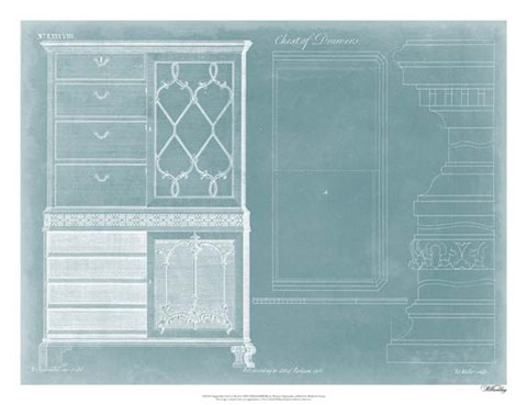 Framed Chippendale Chest of Drawers Print