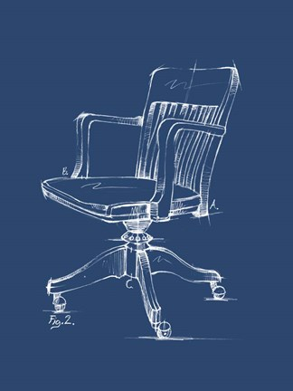 Framed Office Chair Blueprint II Print