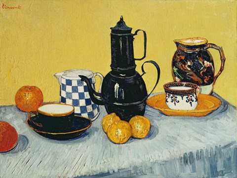 Framed Still Life with Blue Enamel Coffeepot, Earthenware and Fruit Print