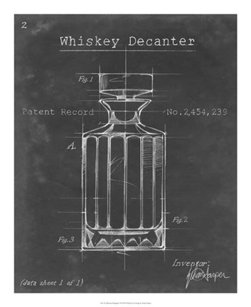 Framed Barware Blueprint VII Print