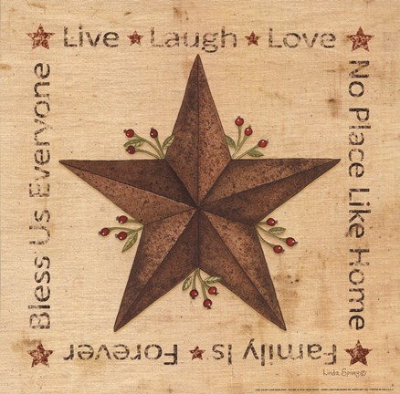 Framed Llive, Laugh, Love Barn Star Print
