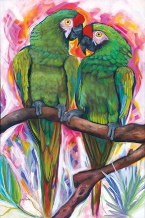 Framed Two Parrots Print