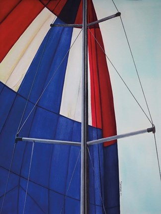 Framed Red, White and Blue Spinnaker Print