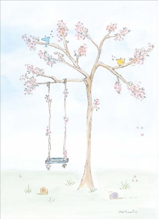 Framed Cherry Blossom Swing Print