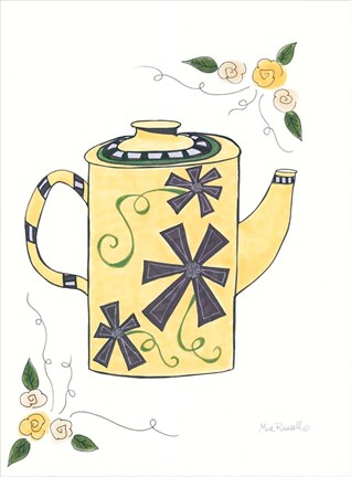 Framed Black & Yellow Floral Teapot Print