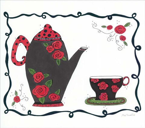 Framed Red Rose Tea set Print