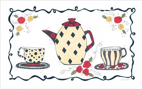 Framed Polka Dot & Diamonds Tea Set Print