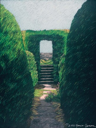 Framed Topiary Pathway Print
