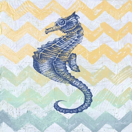 Framed Chevron Sea Horse Print