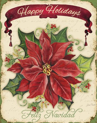 Framed Happy Holidays - Pointsettia Print