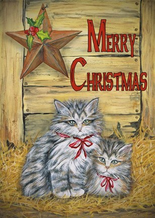 Framed Cats in Barn - Merry Christmas Print