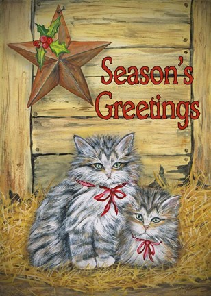 Cats In Barn Seasons Greetings Fine Art Print By Jean