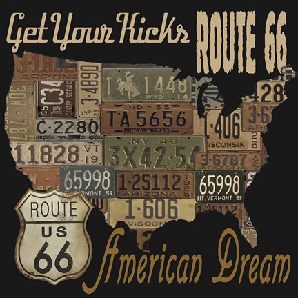 Framed Route 66 - American Dream Kicks Print