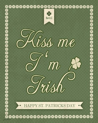 Framed Kiss Me I'm Irish Print