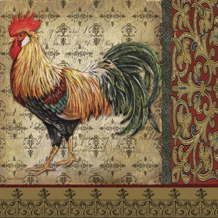 Vintage Rooster Ii Fine Art Print By Jean Plout At