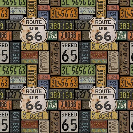 Framed Route 66 -  Black II Print