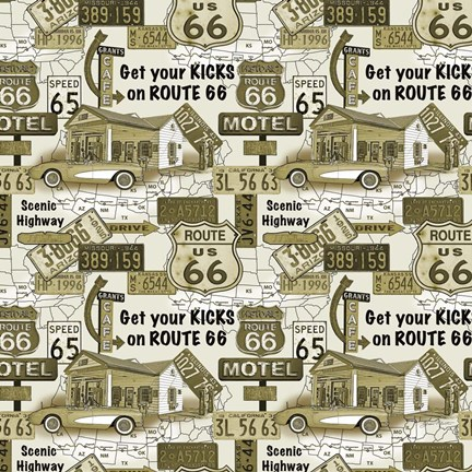Framed Route 66 - Gold Print
