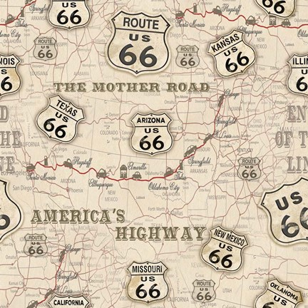Framed Route 66 Map Print