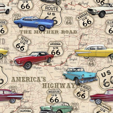 Framed Route 66 Muscle Car Map Print