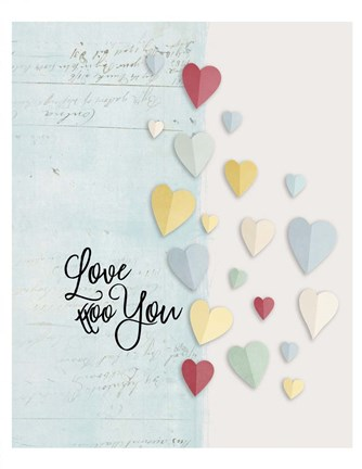 Framed Love You Colorful Hearts Print