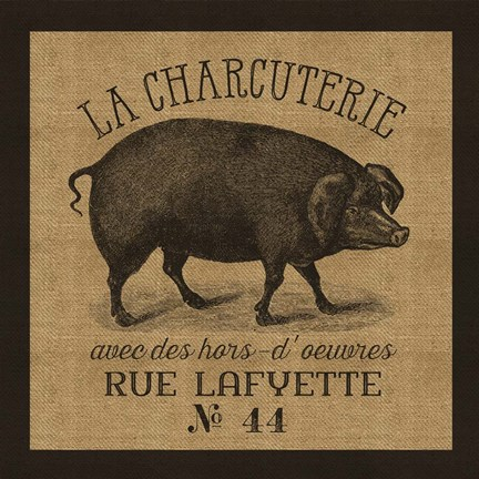 Framed French Pig Burlap Print